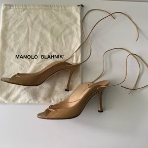 Manolo Blahnik strappy ankle tie heeled sandals